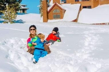 In de sneeuw in Mammoth Mountain